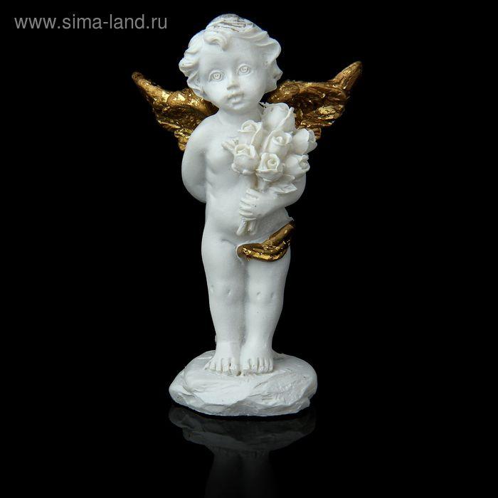 """Сувенир """"Ангелок с розами"""" с золотистыми крыльями, МИКС"""