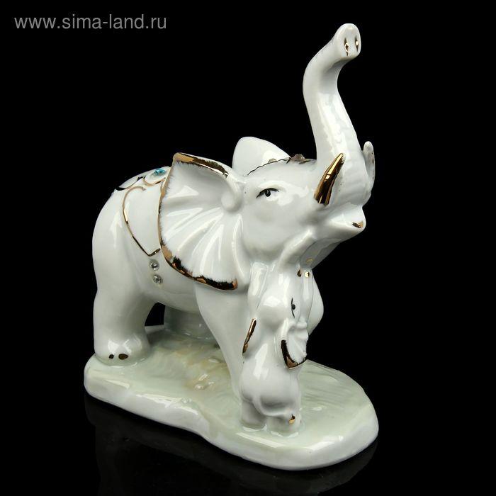 """Сувенир """"Слон со слонёнком"""" под фарфор, со стразами"""