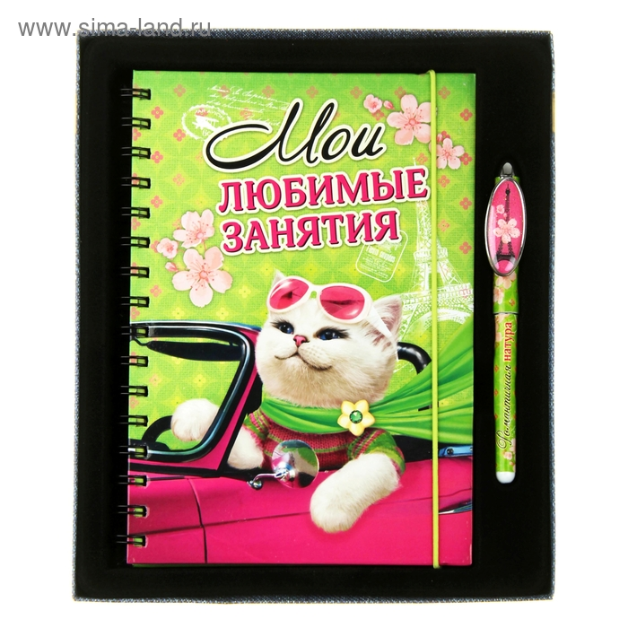 """Подарочный набор """"Мои любимые занятия"""": ежедневник в твёрдой обложке, 96 листов и ручка"""
