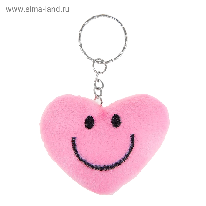"""Мягкая игрушка-брелок """"Сердце-смайлик"""", цвет розовый"""