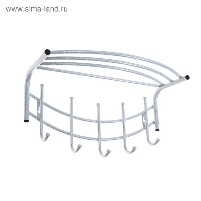 """Вешалка настенная """"Улыбка"""" с полкой 51 см, белое серебро"""