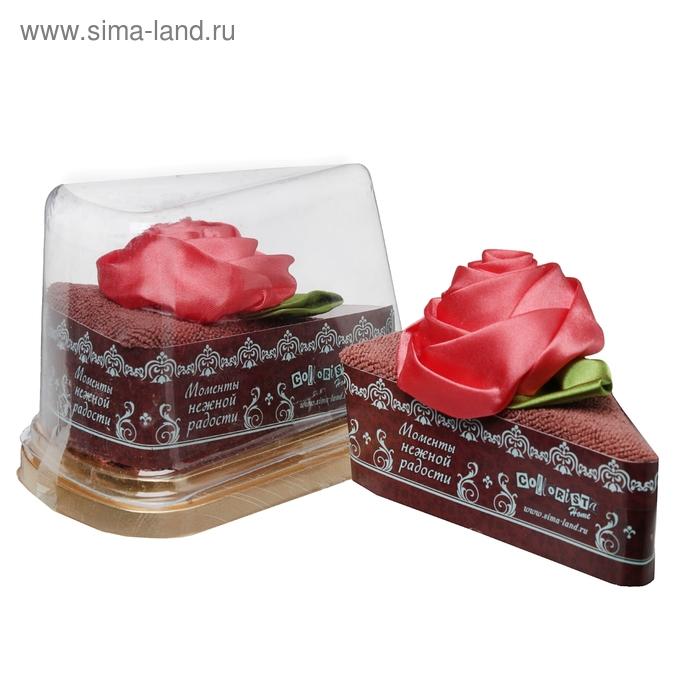 """Полотенце сувенирное торт """"Collorista"""" Чайная роза в шоколаде 20 х 20 см, микрофибра"""