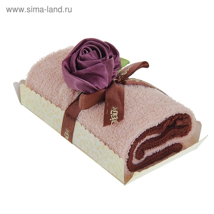 """Полотенце сувенирное рулет """"Collorista"""" Чайная роза в карамели 30 х 30 см - 2 шт, хлопок"""