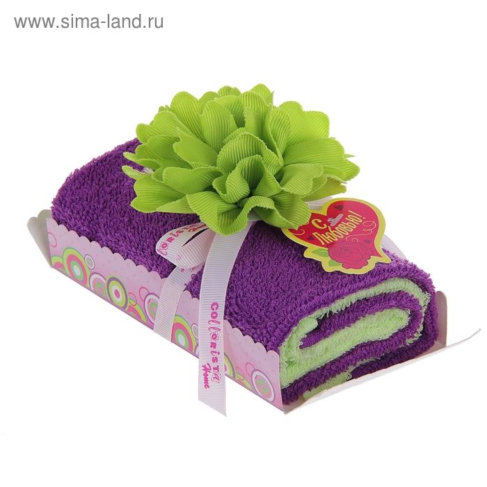 """Полотенце сувенирное рулет """"Collorista"""" Салатовый цветок в пудре 30 х 30 см - 2 шт, хлопок"""