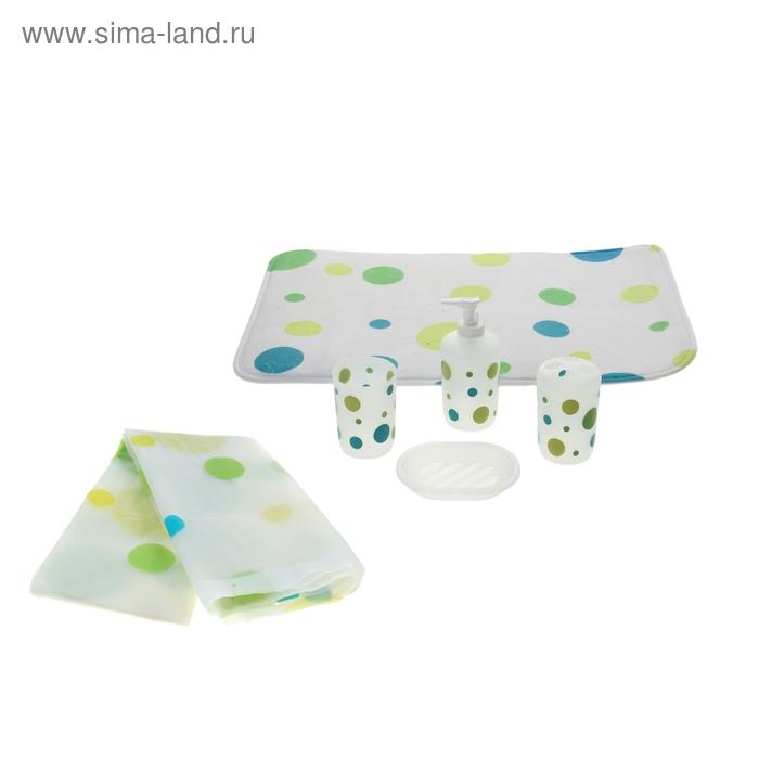 """Набор для ванной """"Круги"""", 7 предметов (штора 180х180 см, кольца, коврик 40х60 см, дозатор, мыльница, 2 стакана)"""