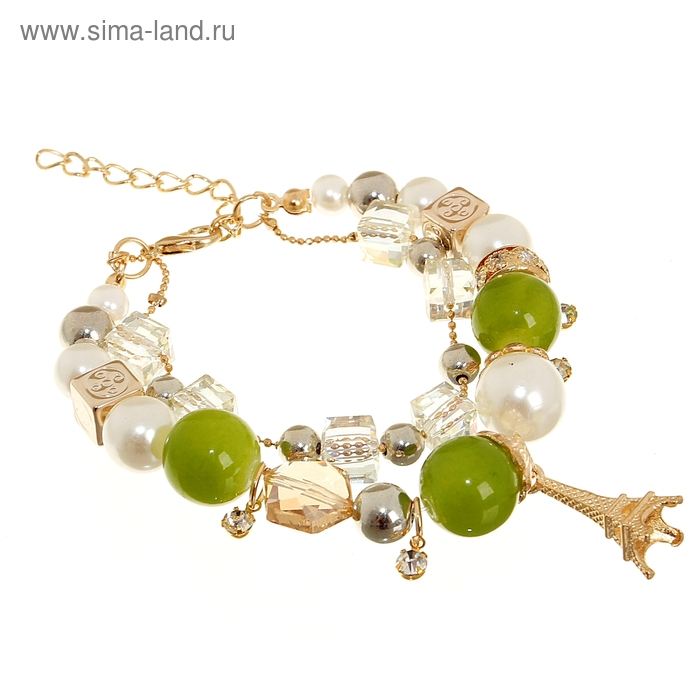 """Браслет-ассорти 2 нити """"Париж"""", цвет зелёно-белый в золоте"""
