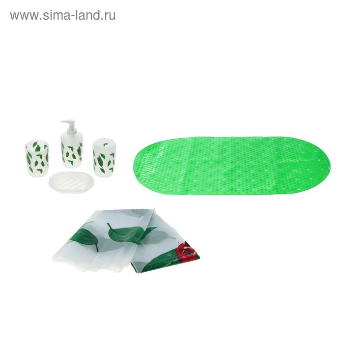 """Набор для ванной """"Лепестки"""", 7 предметов (штора 180х180 см, кольца, коврик 40х60 см, дозатор, мыльница, 2 стакана), цвет зеленый"""