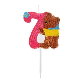 """Свеча в торт """"Мишка"""" цифра 7"""