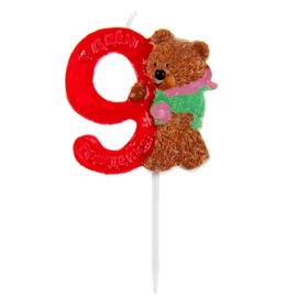 """Свеча в торт """"Мишка"""" цифра 9"""