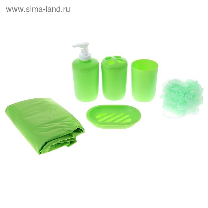 """Набор для ванной """"Нежность"""", 7 предметов (штора 180х180 см, кольца, дозатор, мыльница, 2 стакана, мочалка), цвет зеленый"""