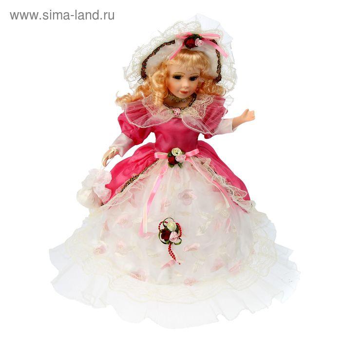 """Кукла коллекционная зонтик """"Барышня в бело-красном платье"""" музыкальная"""