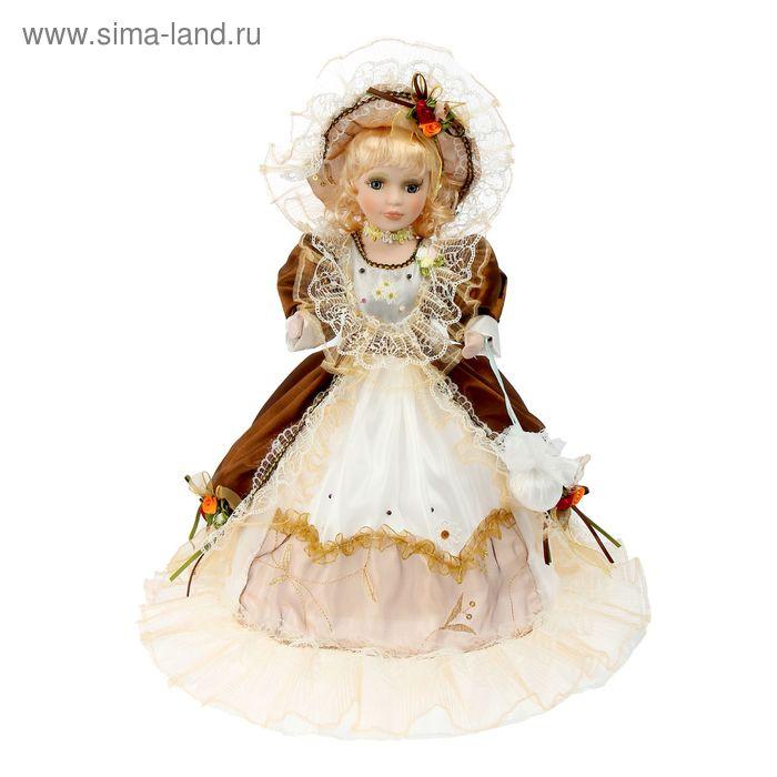 """Кукла коллекционная зонтик """"Барышня в коричневом платье"""" музыкальная"""