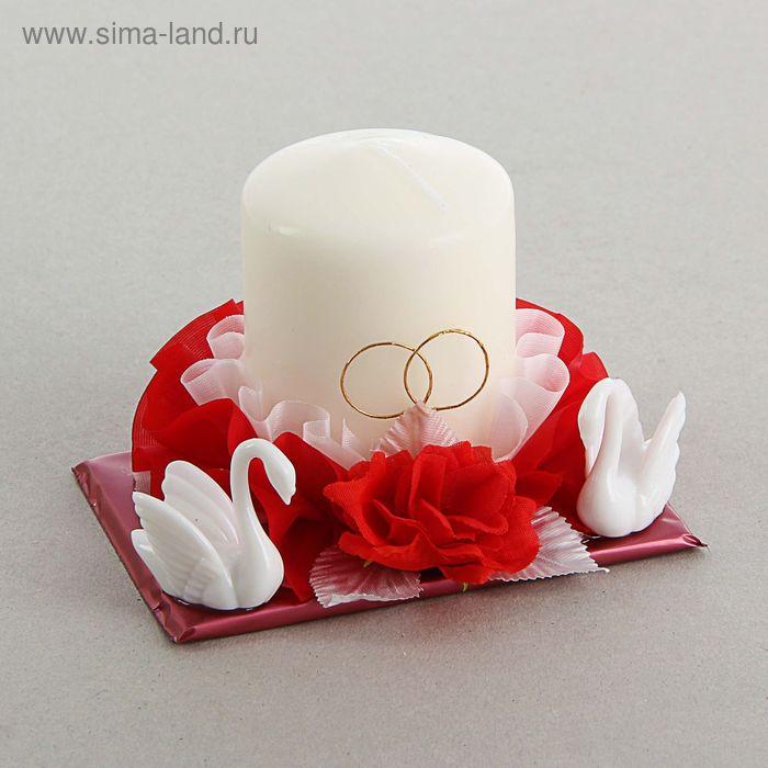 Свеча свадебная с лебедями, в красно-белом оформлении, 5,5х7,5 см
