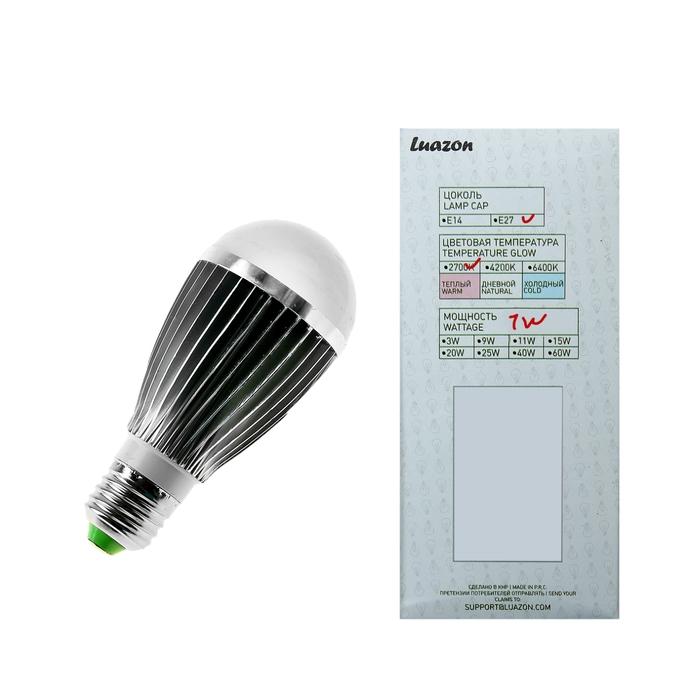 Лампа энергосберегающая светодиодная 7W, 2700K, E27 шар, алюминиевый радиатор