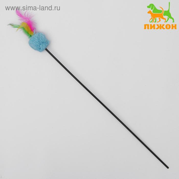 Дразнилка с мягким шариком и перьями, микс цветов