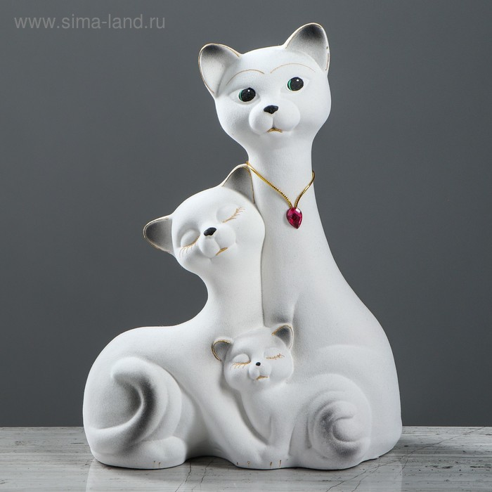 """Копилка """"Семейство котов"""" большая, флок, белая"""
