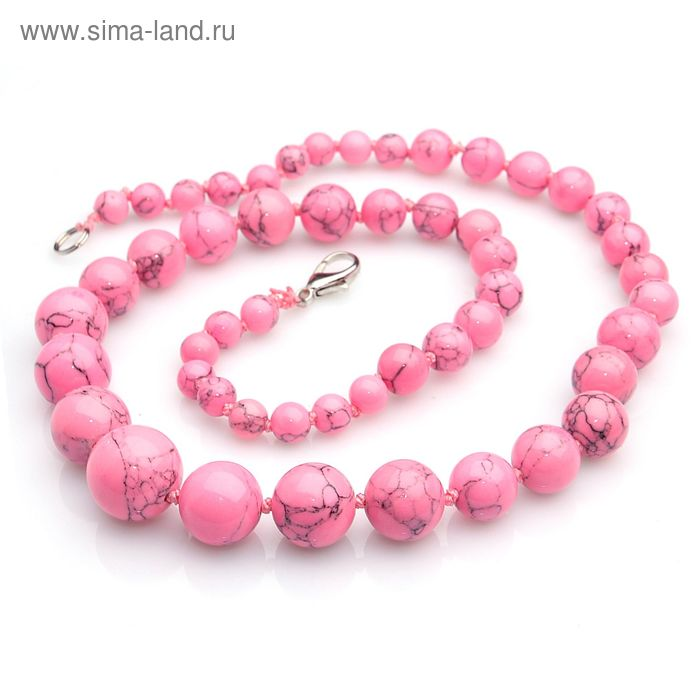 """Бусы шар через узел на увеличение """"Агат розовый"""", 45см"""