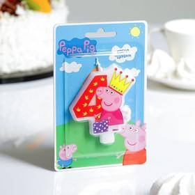 "Свеча для торта цифра ""Peppa Pig"" красная ""4"""