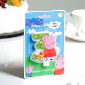 "Свеча для торта цифра ""Peppa Pig"" зелёная ""3"""