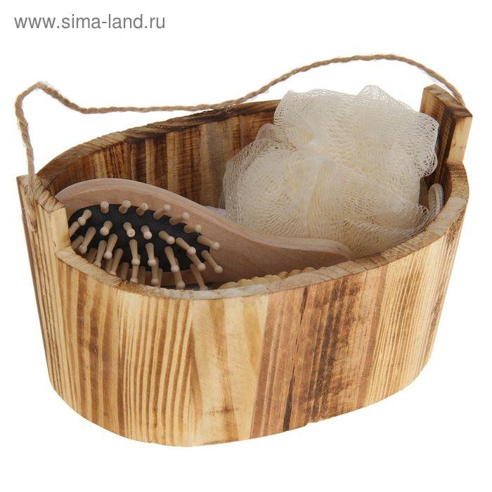 Набор банный в деревянном ушате 5 предметов: мочалка, пемза-щетка, расческа, массажер, зеркало