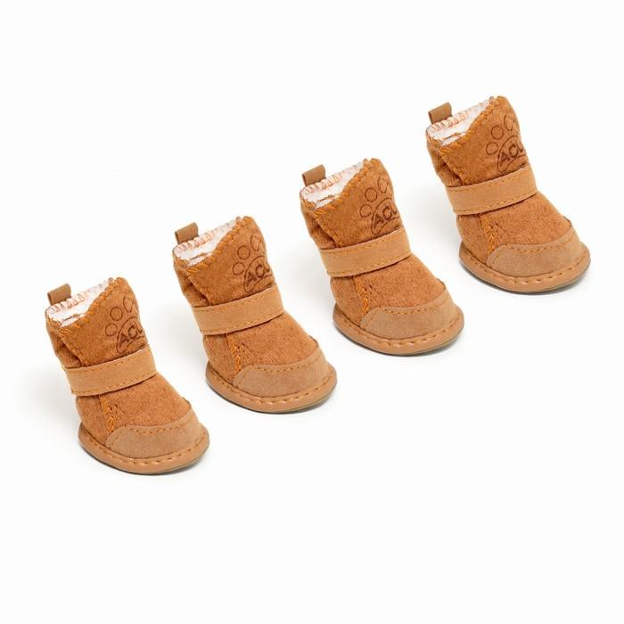 Ботинки Элеганс, набор 4 шт, размер 2 (подошва 4,5 х 3,7 см) коричневые
