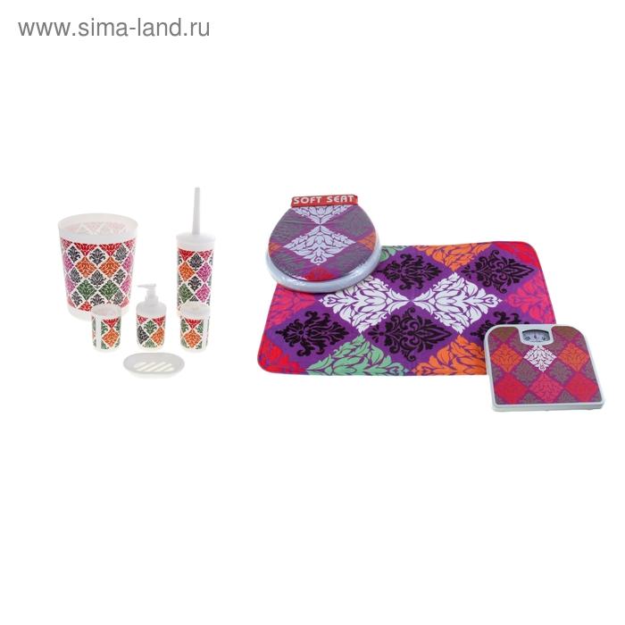 """Набор для ванной """"Богемия"""", 9 предметов (коврик 40х60 см, сиденье, весы, ведро, ерш, дозатор, мыльница, 2 стакана)"""