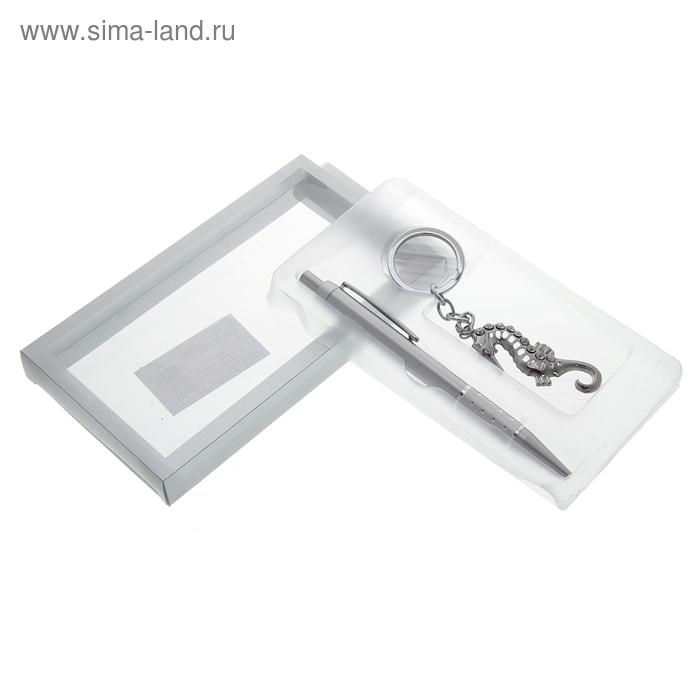 Набор подарочный 2в1 в блистере (ручка+ брелок морской конек) хром 9*16см