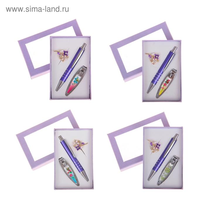 Набор подарочный 3в1: ручка, брошь цветочки, кусачки, цвета МИКС