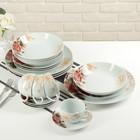 """Набор столовый """"Красный цветок"""", 20 предметов: 4 тарелки d=20 см, 4 тарелки d=20 см, 4 тарелки d=26 см, 4 чашки 180 мл, 4 блюдца"""