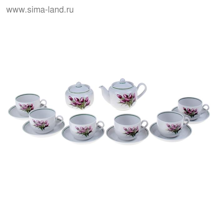 """Сервиз чайный """"Тюльпаны"""", 14 предметов: 6 чашек, 6 блюдец, чайник, сахарница"""