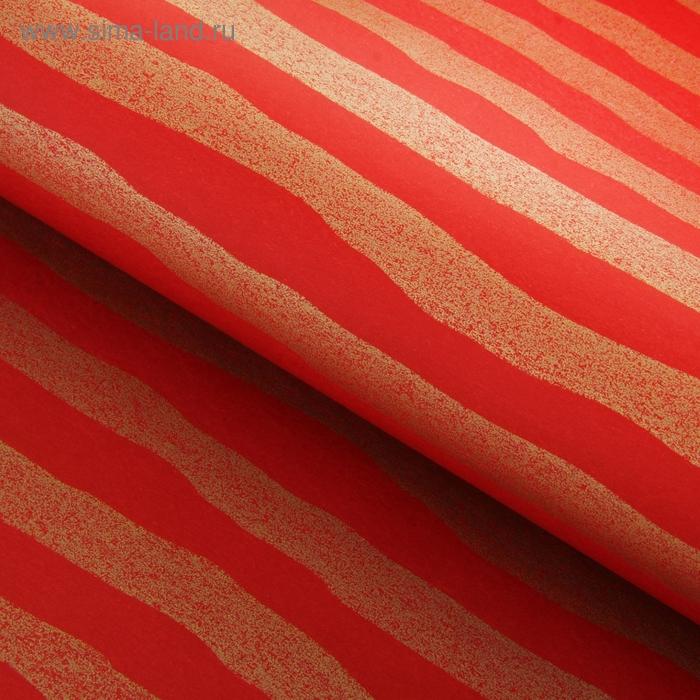 """Бумага упаковочная """"Золотые полосы"""", цвет красный"""