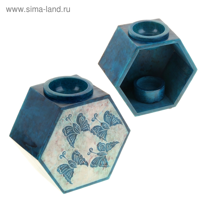 "Аромалампа из камня ""Бабочки"" в форме многогранника"
