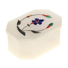 Шкатулка шестиугольная 'Цветы' из камня Ош