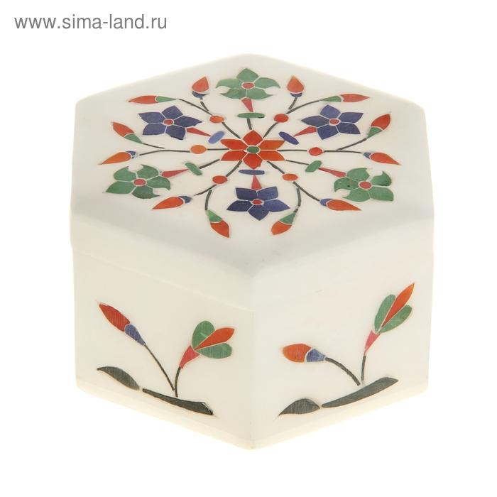 """Шкатулка """"Соцветие"""" шестиугольная под белый мрамор"""
