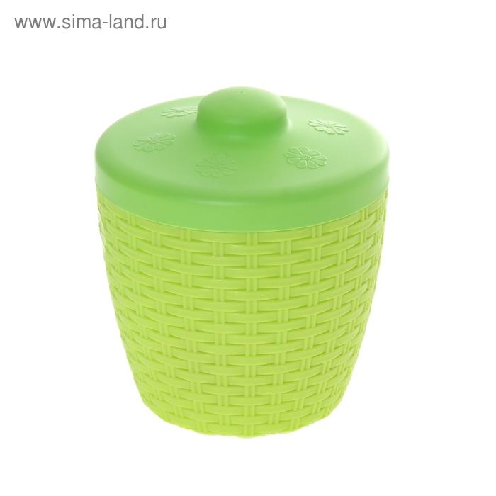"""Банка для сыпучих продуктов 3 л """"Плетенка"""", крышка, цвет зеленый"""