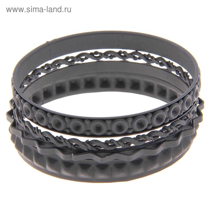 """Браслет-кольца 4 кольца """"Сдержанность"""", цвет матовый чёрный"""