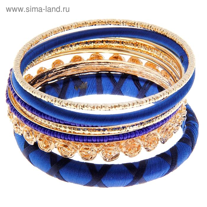 """Браслет-кольца 7 колец """"Цветы"""" розы, цвет синий в золоте"""