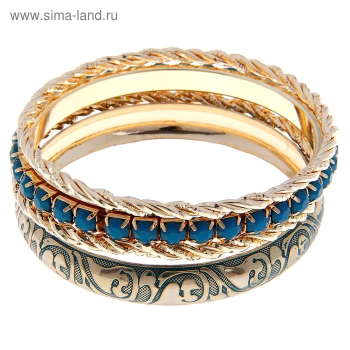 """Браслет-кольца 4 кольца """"Узор"""", цвет морской в золоте"""