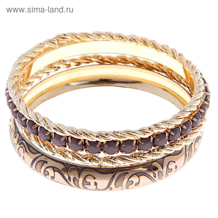 """Браслет-кольца 4 кольца """"Узор"""", цвет серый в золоте"""