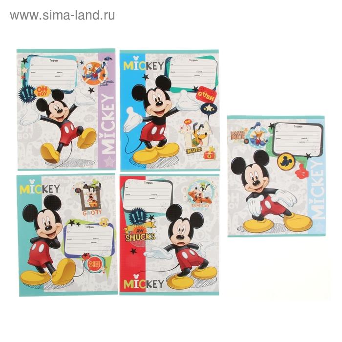 """Тетрадь 12 листов клетка Disney """"Микки Маус-18"""", картонная обложка, лён, 5 видов МИКС"""
