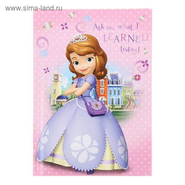 Записная книжка твёрдая обложка А6, 48 листов Disney. София-1, глянцевая ламинация