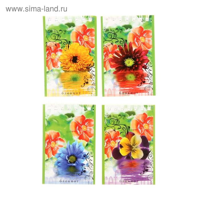 """Блокнот А7, 40 листов на гребне """"Мои цветы"""", 4 вида МИКС"""