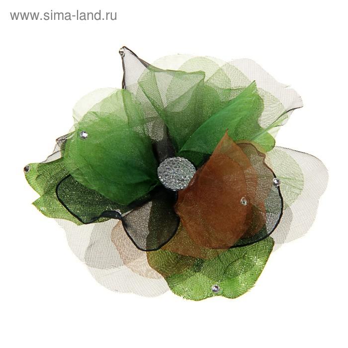 """Брошь """"Цветок"""" шиповник, цвет коричнево-зелёный"""