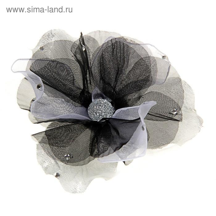 "Брошь ""Цветок"" шиповник, цвет серый"
