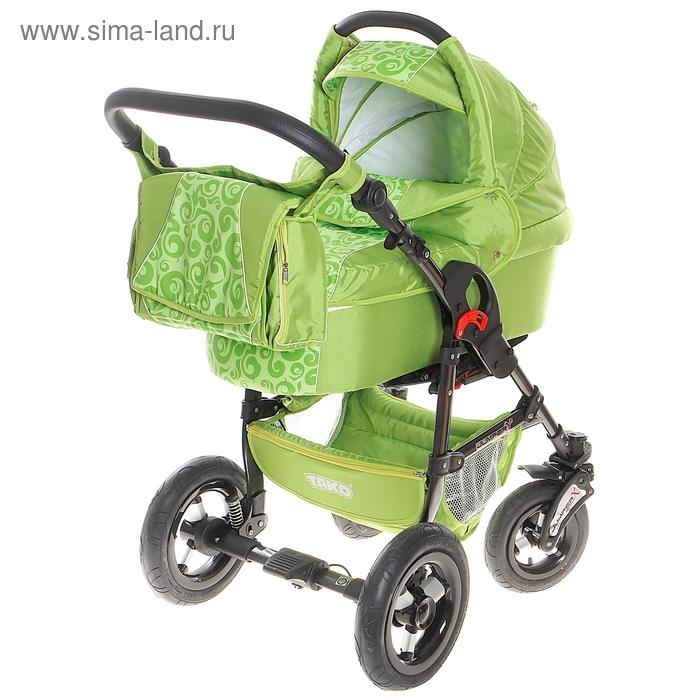 Коляска 2 в 1 Jumper X Fantazja: люлька, прогулочный блок, цвет зелёный