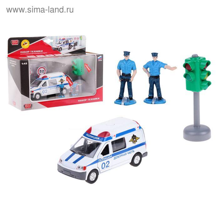 """Машина металлическая """"Полиция"""" 1:43 со светофором, дорожными знаками и фигурками"""