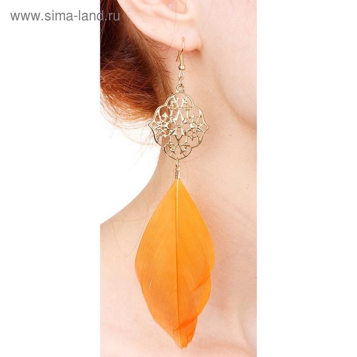 """Серьги перья """"Жар-птица"""", орнамент, цвет оранжевый"""