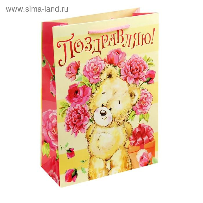 """Пакет ламинат вертикальный """"Мишка с цветами"""", ML 23 х 27 x 8 см"""