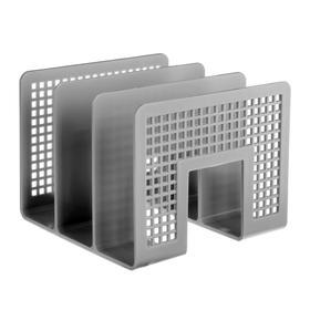 Лоток для бумаг вертикальный 3 отделения серый, EK 10480