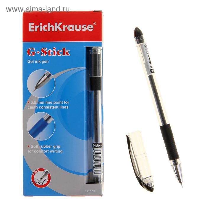 Ручка гелевая стандарт резиновый упор Erich Krause G-STICK узел-игла 0.5мм, стержень черный EK 22046